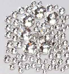 Wholesale Flatback Rhinestones - Top Quality 1440pc SS3-SS20 Crystal Clear White Glass Glue Fixed Non Hotfix Flatback Rhinestone Nail Art Decoration Clothing DIY