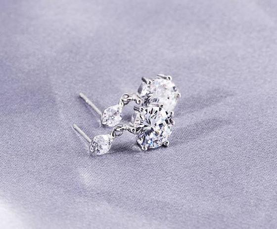 Yeni Beyaz Çift Altı Pençe Aşk Charm İsviçre Elmas Saplama Küpe 18 k Beyaz Altın Kaplama set