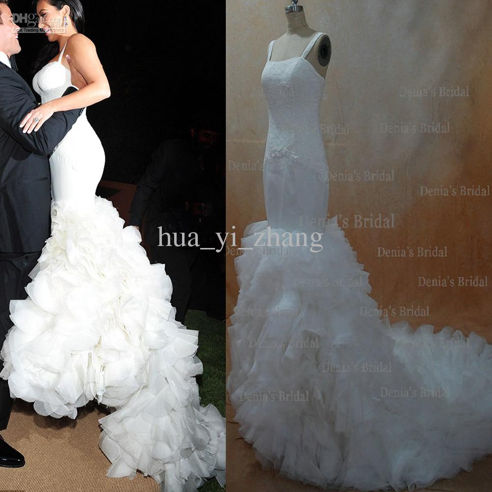 2013 Sexy Kim Kardashian Mermaid Spagetti Straps Lace Organza Wedding Dresses Dhyz 01 Buy 1 Get Free Tiara On Sale Cheap Bridal Gowns From: Kim Kardashian Wedding Dress Replica At Reisefeber.org