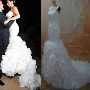 Wholesale 2013 Sexy Kim Kardashian Mermaid Spagetti Straps Lace Organza Wedding Dresses dhyz buy get free Tiara