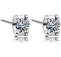 Wholesale Diamond Square Stud Earring - New White Love Charm Square Swiss Diamond Stud Earrings set in 18k White Gold Plated Freeshipping