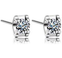 pernos prisioneros del diamante suizo al por mayor-Nuevo White Love Charm Square Swiss Diamond Stud Earrings en 18 k chapado en oro blanco Freeshipping