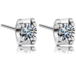 New White Love Charm Square Swiss Diamond Stud Earrings set in 18k White Gold Plated Freeshipping
