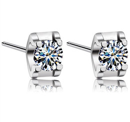 Wholesale White Gold Stud Earring Sets - New White Love Charm Square Swiss Diamond Stud Earrings set in 18k White Gold Plated Freeshipping