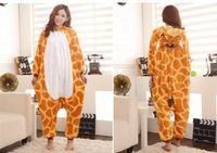 Wholesale Giraffe Onesies Costumes - Cartoon Animal Giraffe Unisex Adult Flannel Onesies Onesie Pajamas Kigurumi Jumpsuit Hoodies Sleepwear For Adults Welcome Wholesale Order