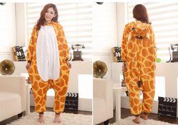 Japanese kigurumi onesie online shopping - Cartoon Animal Giraffe Unisex Adult Flannel Onesies Onesie Pajamas Kigurumi Jumpsuit Hoodies Sleepwear For Adults Welcome Order
