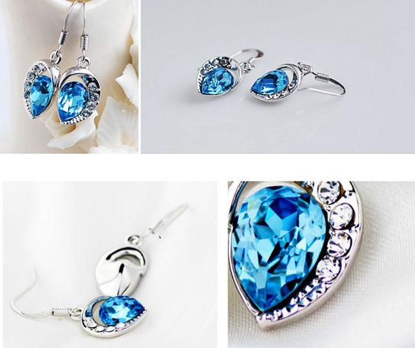 Sapphire-Jewelry 925 Sterling Silver Stud Earrings For Women 3 multiplayer White Gold Blue Austrian Crystal Water Drop Earrings Stud MXZA
