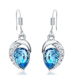 Сапфир-ювелирные изделия стерлингового серебра 925 серьги стержня для женщин 3 мультиплеер белое золото синий австрийский кристалл воды серьги Стад MXZA cheap sapphire crystal earrings от Поставщики серьги из сапфирового кристалла