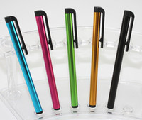 Wholesale Wholesale Pens Pads - 100pcs lot Capactiv Stylus Pen for Iphone 4 5 5S 5C Ipad Samsung HTC Pad Screen Mobile Phone 10 Color Black Rubber Written PC Body CH8562126