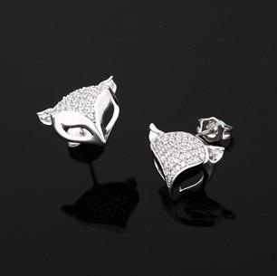925 Sterling Silber Ohrstecker für Frauen 3 Multiplayer Weißgold Niedliche Tier Kristall Ohrring MXZA