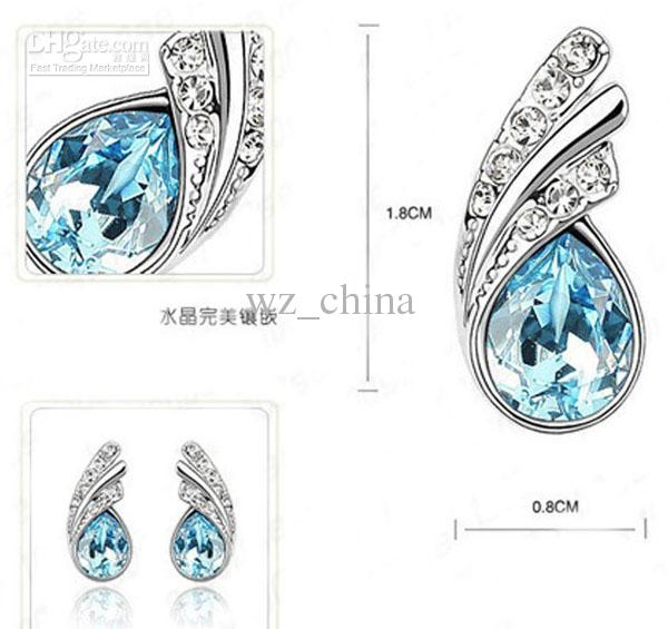 Nya änglar vingar örhängen för kvinnor safir smycken ljusblå kristall örhängen stud set i 925 silverpläterad + vitguld pläterad gratis shipp