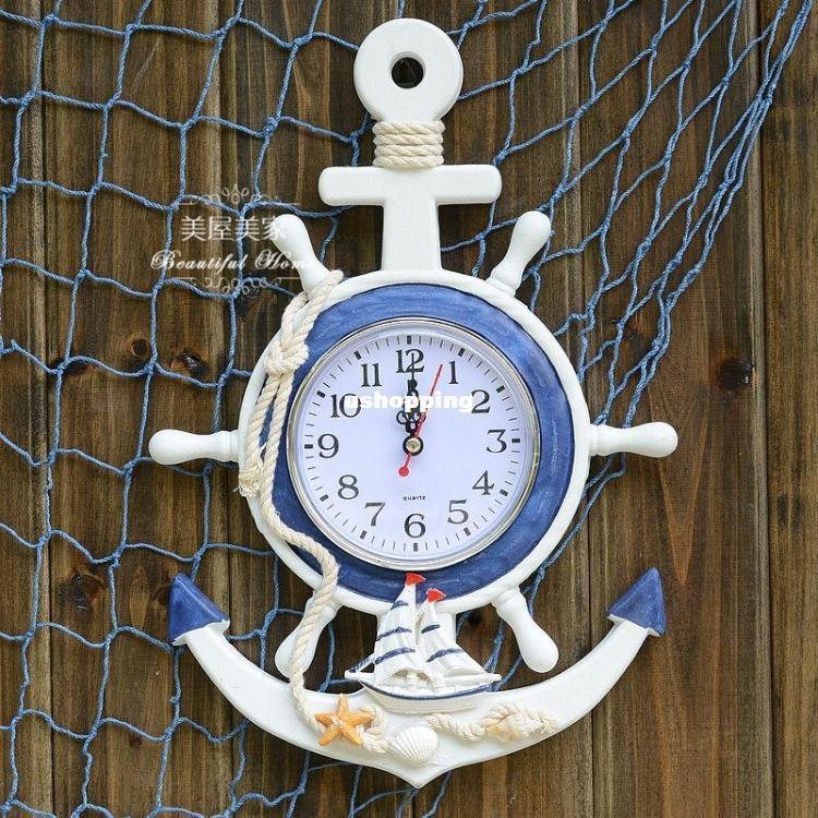Wooden Anchor Wall Decor mediterranean style wooden anchor wall clock rudder wall clock