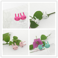 Wholesale Ear Painting - Cute Color Paint Bunny Earrings Fashion Wild Personality Earrings Jewelry Hot Simple Korean Earring Ear Stud 12Pairs lot