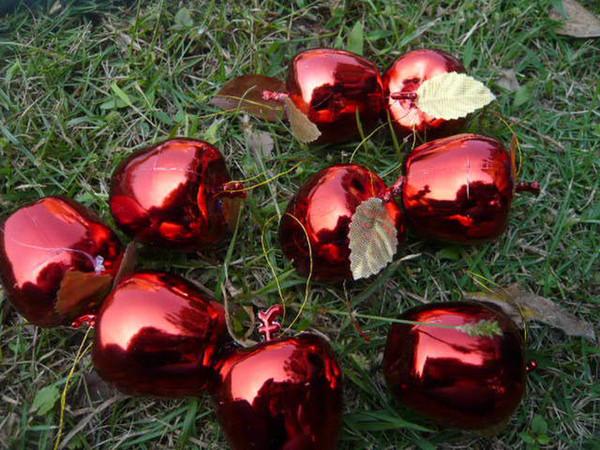 Plastic foam apple shiny xmas pendant ornament 5cm,4CM red and gold color,christmas home decorations wholesale,ornament factory 36pcs/lot