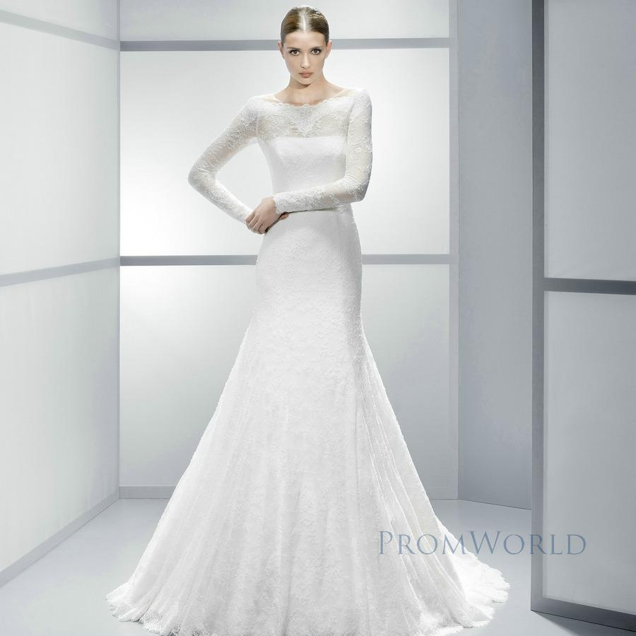 Trumpet Wedding Gowns With Sleeves: Trumpet Mermaid Long Sleeve Appliques Illusion Square
