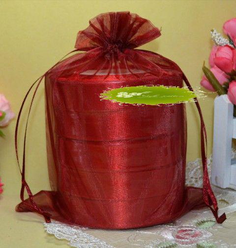 Heiße Angebote ! 100 Stück rote Organza Geschenkbeutel, 17x23cm mit Kordelzug