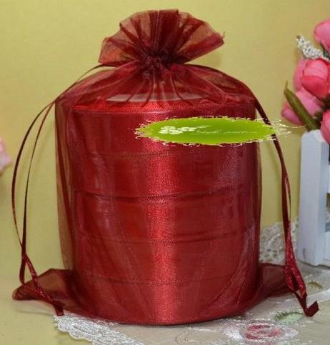 Varmförsäljning! 100 st Röda Organza Presentväskor, 17x23cm med dragsko