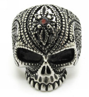 Wholesale Skull 316l - High Quality Wholesale Vintage Retro Spiked Skull Red Rhinestone 316L Stainless Steel Men's Finger Ring Jewelry Gift