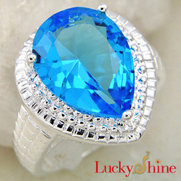 Wholesale Women Blue Topaz Wedding Ring - New Limited Promotion Cone Rodamiento Roller Tapered Bearing Best Jewelry Supply Wedding Rings for Women Water Drop Ocean Blue Topaz R0194