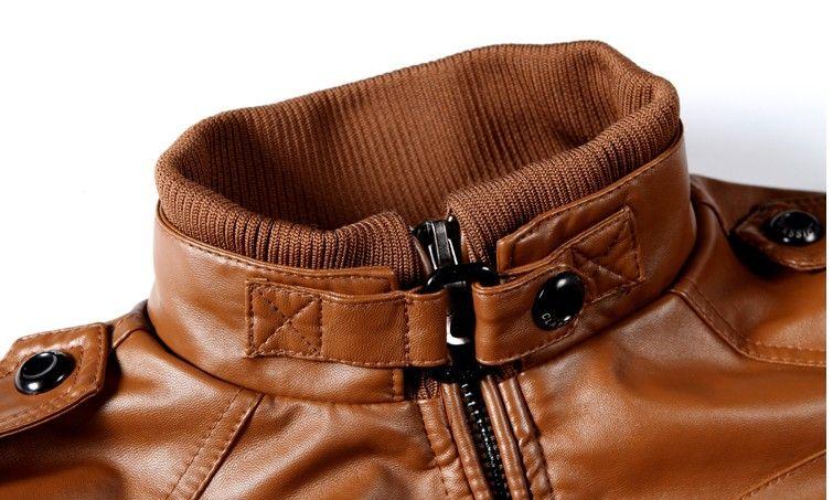 Giacca da uomo Giacca in pelle Cappotto Ispessimento Pelliccia Capispalla Giacca invernale sottile Marrone, M-XXXL