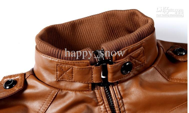 Men's Locomotive Leather Jacket Coat Thickening Fur Outerwear Slim Winter Jacket Brown , M-XXXL