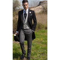 Wholesale hot men wedding suit - Hot Sale Morning Style Groom Tuxedos One Button Black Peak Lapel Best man Groomsman Men Wedding Suits Bridegroom (Jacket+Pants+Tie+Vest)J156