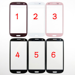 Wholesale S3 Screen White - For Samsung Galaxy S3 SIII I9300 Outer Front Glass Lens Screen External Digitizer Touch Screen Cover Pebble Blue Black White Gray Pink Red
