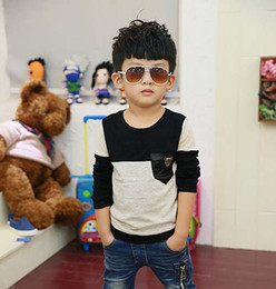 Wholesale Knit Shirt Children - Child Clothing Kids Wear Fashion Round Neck Shirts Boys Clothes Knitted Shirt Children T Shirts Boy Gray Casual Pullover Long Sleeve T Shirt