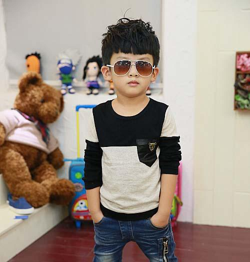 best selling Child Clothing Kids Wear Fashion Round Neck Shirts Boys Clothes Knitted Shirt Children T Shirts Boy Gray Casual Pullover Long Sleeve T Shirt