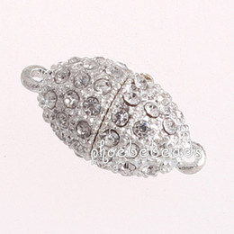 Wholesale Wholesale Magnetic Clasps For Jewelry - Free Shipping 15 Pcs lot Hot Sale Oval Crystal Magnetic Clasps For Jewelry Making PMC-M030A
