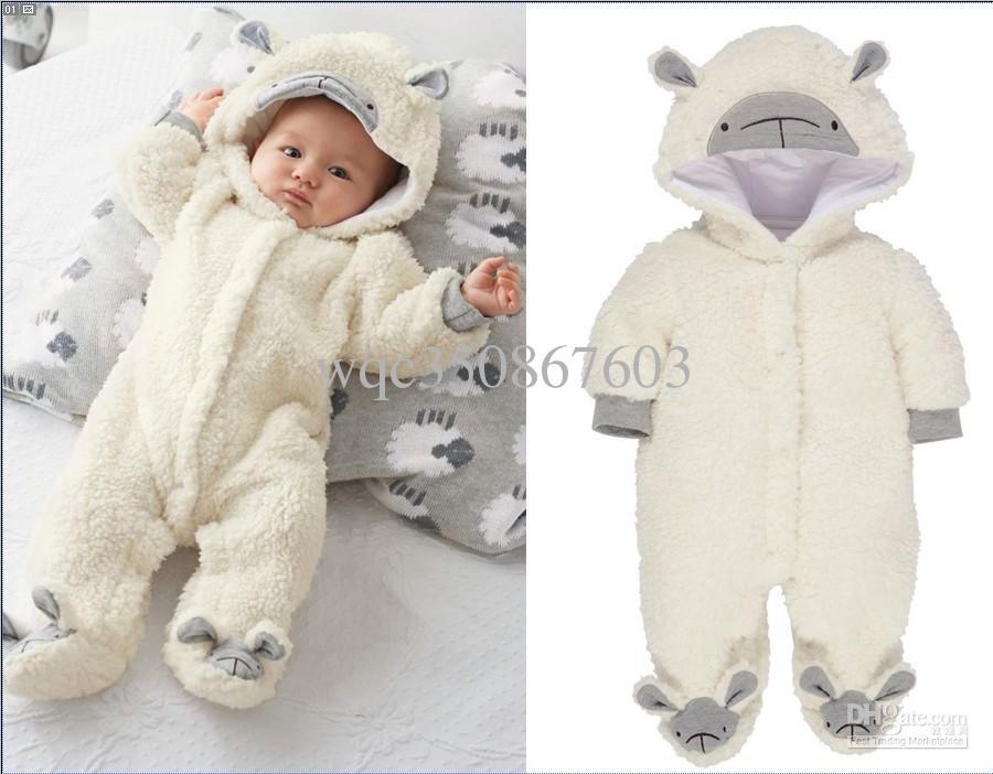 Infant Baby Lovely White Sheep Fluffy Hooded Romper Boys