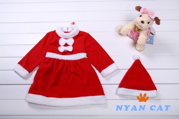 New Winter dress Christmas Girl Dress suit With Christmas Hat Fashion long sleeve children's dress baby girl kids skirt warm dresses TZ6