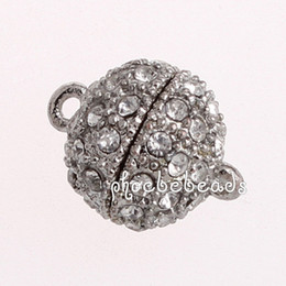 Wholesale Magnetic Round Clasp - Free Shipping 20 Pcs lot New Arrival Silver Color Round Crsytal Magnetic Ball Clasps PMC-M036A