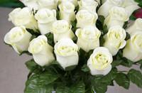Wholesale Diy Wedding Flower - NEW 100Pcs 30cm Length Artificial Simulation Silk Single Rose Half Open Roses for DIY Bride Bouquet Wedding Flower