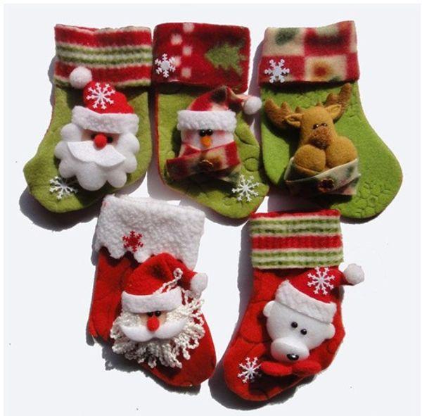 Free Shipping Santa Claus Gift Snowman Christmas Stocking With 30 Small Pocket Christmas Decoration Socks