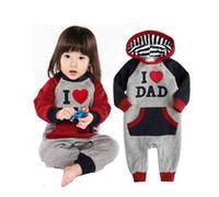 Wholesale I Love Dad Romper - I Love MOM & DAD Baby Autumn hooded romper Grow Long Sleeve Bodysuit Jumpsuit Outwear