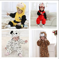 Wholesale Ladybug Jumpsuits - Retail Toddler Baby Animal Hooded One-Piece Romper Children Halloween Xmas Costume Kids Bodysuit Jumpsuits Bee Ladybug Beetle Snow leopard