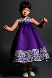 Wholesale Tea Length Gown Flower Girl - Ball Gown Tea Length Appliques Purple Satin Grils Pageant dresses Scoop Neck Flower Girl Dresses with Bow