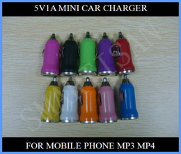 Wholesale Mini Chargers For I Phones - A+Colorful Bullet Mini USB Car Charger Universal Adapter for iphone 5 5G 4 4S Cell Phone I PDA MP3 MP4 300pcs up