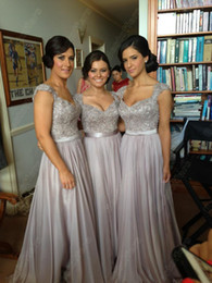 Wholesale Short Fitted Skirts - Custom made bridesmaid dresses with cap sleeves pearls fitted on the bodice over A line chiffon skirt (get a braclete for free)