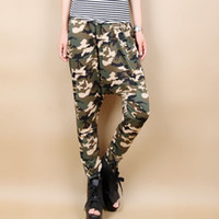 Wholesale Harem Pants For Womens - Fashion HIp Hop Womens Casual Army Camouflage Harem Pants Ladies Plus Size Baggy Lower Garments Wide Leg Loose Pants Trousers for woman