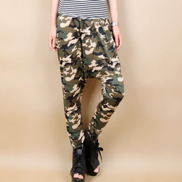 Pantalon De Camouflage À Larges Jambes Pas Cher-Fashion HIp Hop Womens Casual Army Camouflage Harem Pants Ladies Plus Size Baggy Lower Garments Wide Leg Pantalons en vrac Pantalons pour femme