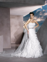 Wholesale Demetrios Mermaid Dresses - Stylish Strapless Pleat Bodice Layered Skirt Organza Demetrios-Wedding Dresses Removable Beaded Belt Bridal Gown With Chapel Train