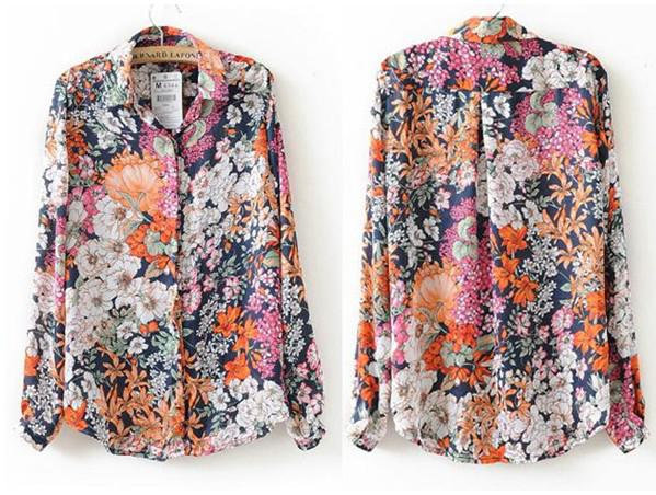 Vintage Boho Floral Printed Boyfriend Women Blouses Casual Shirts ...
