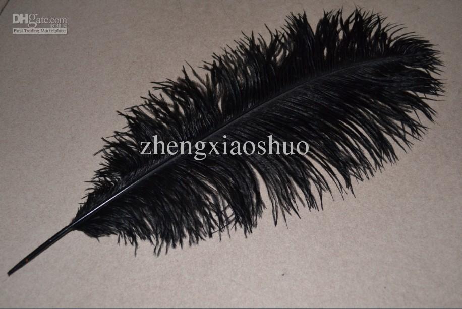Al por mayor-libre del envío Prefect 50 piezas / lote 20-22 pulgadas 50-55cm Plumas de pluma de avestruz negro para Home mesa decoraction Wedding Centerpieces