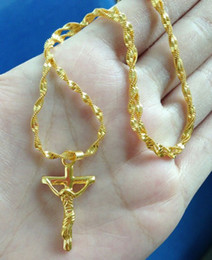 Wholesale Cross 24k Gold Necklace Chain - designer fashion 2016 new yellow cross pendant necklace 24k gold plated jewelry chains necklaces NO:0305