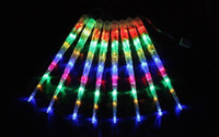 Wholesale Tube Fall Double - 8pcs Free shipping 50CM double-sided LED Meteor light decoration christmas light LED Snow fall tube led raining tube led meteor tube