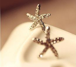 Wholesale Wholesale Studs Korea - Cute Full Diamond Starfish Earrings Fashion Korea Earrings Jewelry Hot Starfish Earring Ear Stud 48pcs Wholesale Price