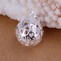 Discount charm pendants cheap - 2015 cheap silver jewelry 925 silver Pierced charm Ball PENDANT necklace 2.9*1.1cm