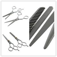 gümüş makas saç toptan satış-1 takım Düzenli Kuaförlük Saç salon Kesme Inceltme Gümüş Makaslar Paslanmaz çelik Makas Seti Aracı